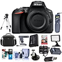 Nikon D5600 Digital SLR Camera Body, Black - Bundle With 64GB SDXC Card, Camera Case, Spare Battery, Tripod, Video Light, Shotgun Mic, Memory Wallet, Cleaning Kit, Software Package, And More