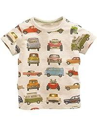 Boy's Short Sleeve Cotton T-Shirts Car Print Tops