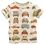 Metee Dresses Boy's Short Sleeve Cotton T-Shirts Car Print Tops Size 18 Months,18M(12-18 Months),Beige