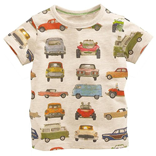 Metee Dresses Boy's Short Sleeve Cotton T-Shirts Car Print Tops Size 18 Months,18M(12-18 Months),Beige