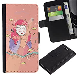 KingStore / Leather Etui en cuir / Sony Xperia Z1 Compact D5503 / Chica Kids Dibujo Creativo