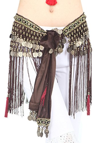 ZLTdream Women's Belly Dance Tribal Hip Scarf with Fringe Coins Flannel Coffee, One Size
