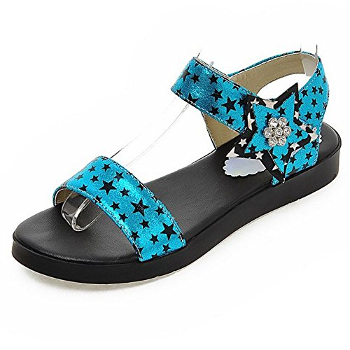 LongFengMa Women's Fashion Flat Heels Sandals With Stars Printing Blue GYUWmmLHRK