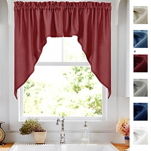 Elegant Swags Café Curtains for Kitchen, Home Decor Semi Sheer Casual Weave Small Window Swags for Bathroom Curtains (2 panels, 72 by 38-Inch, Burgundy Red) - Decor Swag