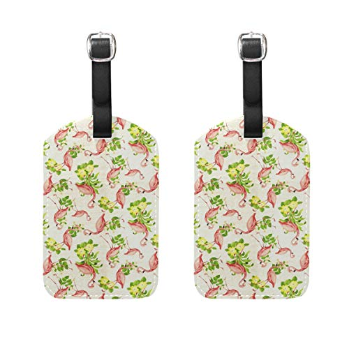 Flamingos Cream PU Leather Luggage Tags Suitcase Labels Bag Travel Accessories - Set of 2 ()