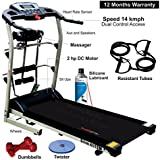 Healthgenie 4112M 2.0 HP 7 in 1 Motorized Treadmill with Massager, Sit-ups, Tummy Twister, Dumbbells, Resistant Tubes and Silicone Treadmill Lubricant - 550ml