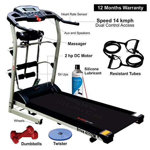 Healthgenie 4112M 2.0 HP 7 in 1 Motorized Treadmill with...