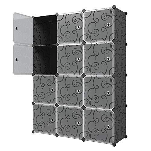 (KOUSI Storage Cube Cube Organizer Cube Storage Shelves Cube Shelf Room Organizer Clothes Storage Cubby Shelving Bookshelf Toy Organizer Cabinet, Black with Doors,12 Cubes)