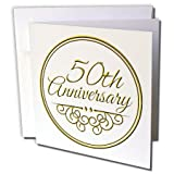 3dRose Greeting Cards, 50Th Anniversary Gift, Gold Text for Celebrating Wedding Anniversaries, 50 Years Married Together, Set of 6 (gc_154492_1)