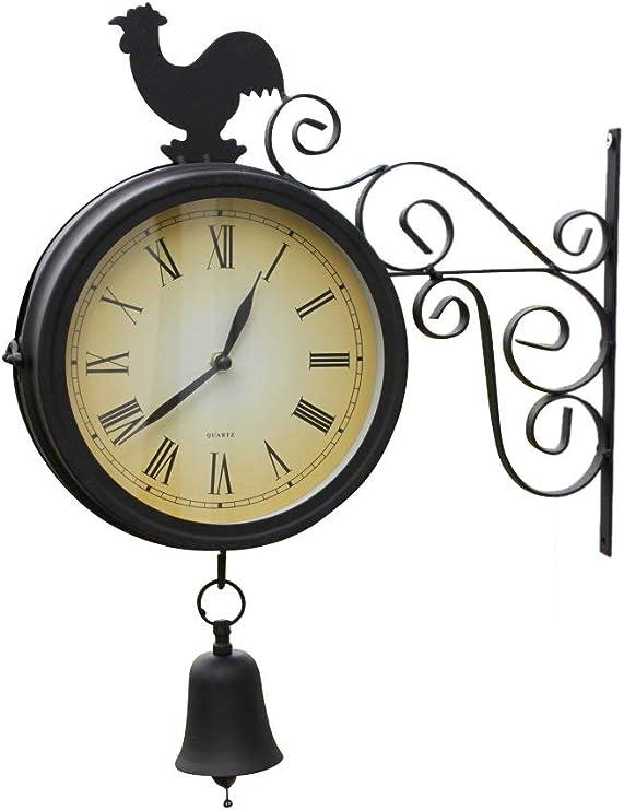 Garden Market Place Reloj de jardín de Doble Cara con Campana y Gallo con baterías gratuitas para Uso en Interiores o Exteriores: Amazon.es: Jardín