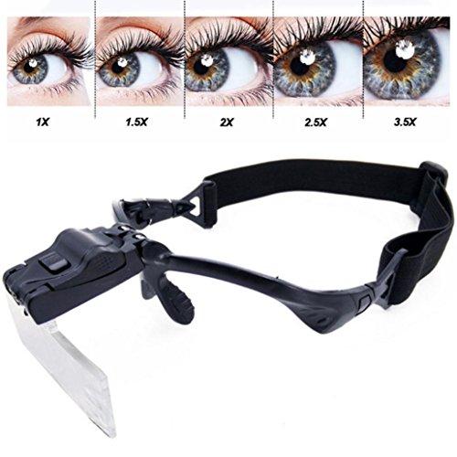 Putars Portable Multifunction Eyelash Extension LED Light Magnifying Spec Glasses Hands Free Magnifier Black