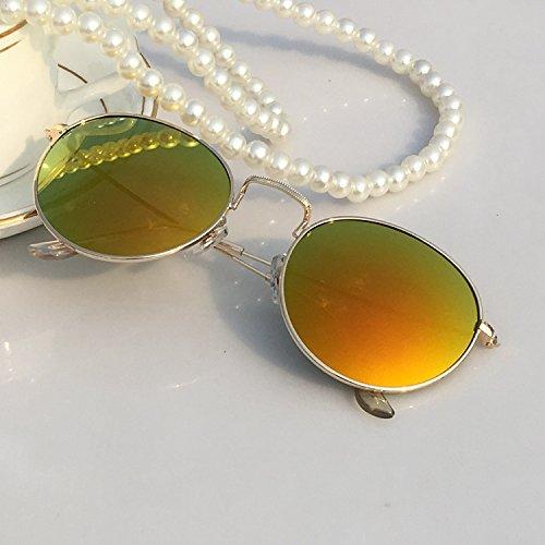 LXKMTYJ Boîte ronde en métal Lunettes de soleil Hommes et femmes également visage carré de membrane bord métallique de lunettes de sport verres personnalisés Lunettes de pêche, F