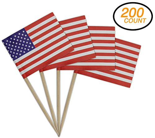 Ram-Pro Pack of 200 Decorative American Flag Wood Picks - USA Flag Picks, Mini American Stick Flag Food Toothpicks for Flag Day - Party Decorations Hand Held Mini Flag Decorative - Toothpicks Usa