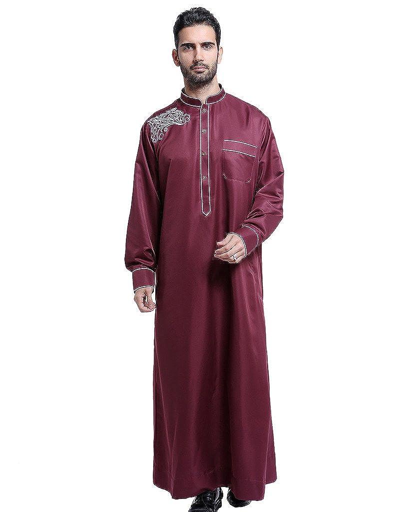 GladThink Men's Thobe with Long Sleeves Arab Muslim Wear