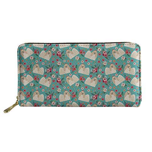 (Coloranimal Unisex Travel Clutch Bag Slim Zipper Closure Long Leather Wallets Cute Shih Tzu Flower Pattern Shopping Traveling Coins Credit Cards Organizer )