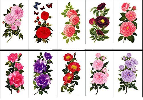 10 Sheets Large Temporary Tattoos Flower Paper Body Tattoo Sticker for Women & Girl Fake Tattoo (Lily, Peach, Plum, Peony) -