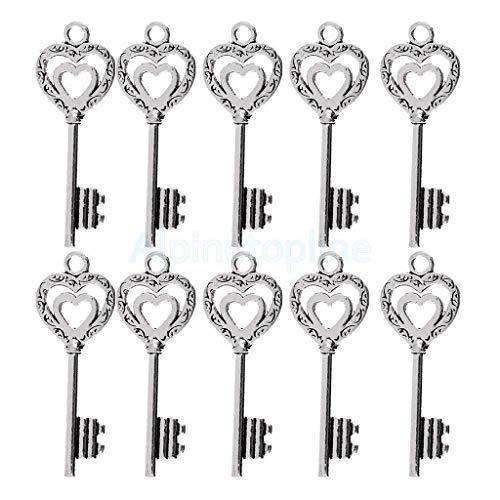 NATFUR 10pcs Novelty Key Shaped DIY Jewelry Keyring Keychain Keys Lot Pendant Pretty Cute Holder Pretty Beautiful | Colour - Silver