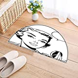 Kitchen Rugs Floor mats pop Art Woman Mirror Waterproof Semi-Circular Door Mat Floor Mats W30 x H18 INCH