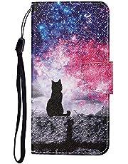 TYWZ Lederen Wallet Case voor Samsung Galaxy A52, Flip Cover met Patroon Kichstand Kaarthouder Slot Bookstyle Beschermende Bumper voor Meisjes Jongens Man-Sky Cat