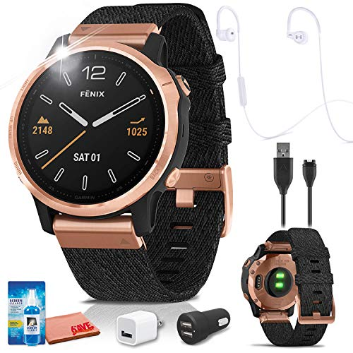 Garmin Fenix 6S Multisport GPS Smartwatch (Rose Gold) with JBL Under Armour Heart-Rate (White) Headphones Bundle