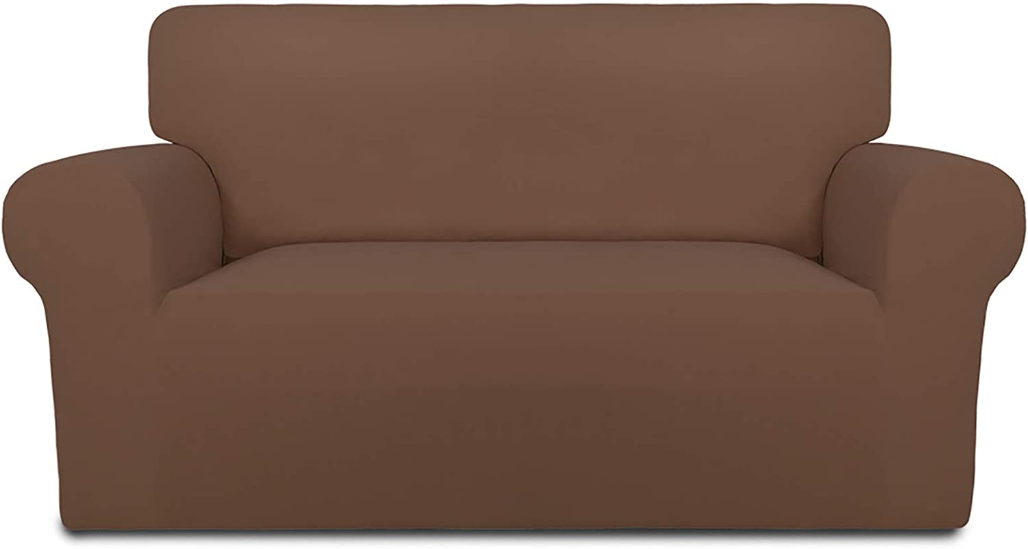 PureFit Super Stretch Loveseat Sofa Slipcover – Spandex Non Slip Soft Couch Sofa Cover, Washable Furniture Protector with Non Skid Foam and Elastic Bottom for Kids, Pets (Loveseat, Brown)