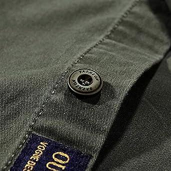 iLXHD Mens Autumn Casual Military Slim Button Long Sleeve Dress Shirt Top Blouse
