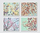 Spring Photography, Floral Branches Flowering Tree Blossom Pastel Decor, Gallery Wall Print set of 4, Forsythia Dogwood Flower Pictures 5x7, 8x10, 11x14, 12x16, 16x20 - 25% off discount