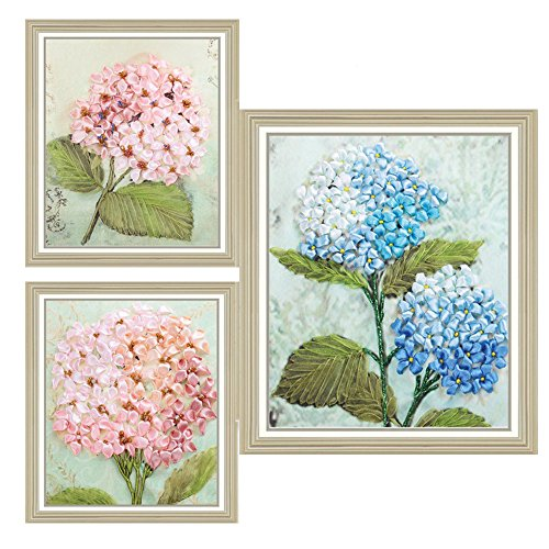 Hydrangea Ribbon (Ribbon Embroidery Kit Little Hydrangea Set for Beginner Painting Wall Decor with hoop Not Include Frame)