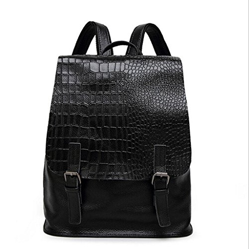 ZY&F Tracolla modello vera pelle borse Ms. semplice pelle zaino da viaggio zaini scolastici Borsa a tracolla Ms. nero