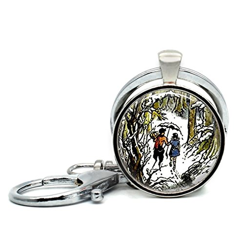 Keychain Round Pendant Narnia Jewelry Wearable Art Glass Cabochon Key Rings Stainless Steel Metal Handmade Charm Pendants - Cabochon Art