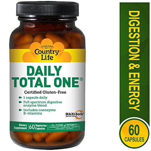 Country Life Daily Total One with Iron - Full Spectrum Digestive Enzyme Blend - 60 Vegetarian Capsules