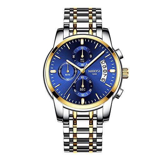 NIBOSI Mens Watches Luxury Fashion Casual Dress Chronograph Waterproof Military Quartz Wristwatches for Men Stainless Steel Blue Calendar Date Watch