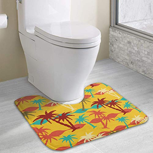 Bennett11 Sea Palm Trees U-Shaped Toilet Floor Rug Non-Slip Toilet Carpets Bath Mats Rug 19.2″x15.7″