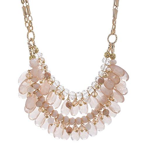 Catherine Malandrino Women's 18-26'' Pink Beaded Layered Style Yellow Gold-Tone Necklace by Catherine Malandrino