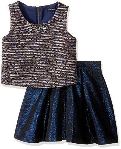 My Michelle Big Girls' Two Piece Set with Tweed Sleeveless Top with Beading Around Neckline, and Skirt, Navy, (Tweed Skirt Set)