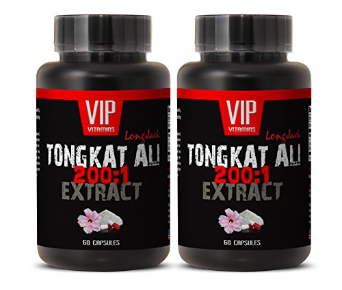 400mg Longjack - Tongkat Ali 200:1 Premium Extract - Natural Testosterone Booster (2 Bottles 120 Capsules)