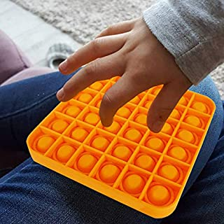 Push pop Bubble Sensory Square Fidget Toy Stress Reliever Autism Toy for The Old and The Young (Orange)
