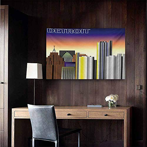 duommhome Detroit Art Oil Paintings Retro Style Downtown Illustration Metropolis High Rise Buildings Urban Modern Life Canvas Prints for Home Decorations 24