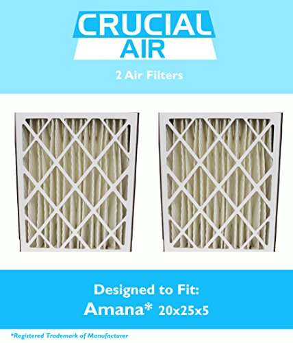 2 Replacements for Amana 20x25x5 MU2025 & M8-1056 Pleated Furnace Air Filter, MERV 8, by Think Crucial