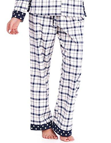 Mio Lounge Joni Cream and Blue Check Polka Dot Soft Brushed Cotton Pyjama Set PJs ML16C4PJ