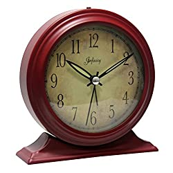 Infinity Instruments Boutique Red- 5-5/8 x W:5-1/2 Metal Alarm Clock