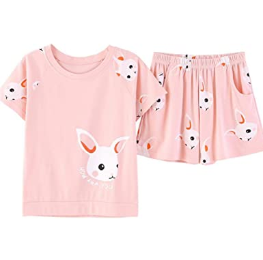 83429fd6d81b Girls Cute Cotton Rabbit Pajama Set Summer Pink Sleepwear Shorts Nighty for  Big Girls (13
