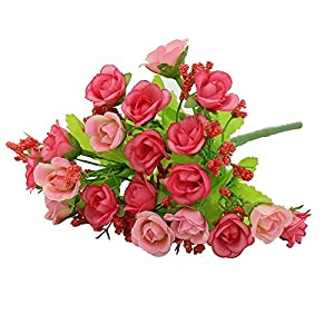 "1 Bouquet 21 Head 9"" Artifical Fake Rose Wedding Party Home Decor Silk Flower (Pink) 105"