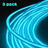 REDGO LED Light String Strip Rope Tube EL Wire Cable with Battery Pack for Festival Day Thanksgiving Day Christmas Day New Year Birthday Party Light (3ft/1m,Blue)