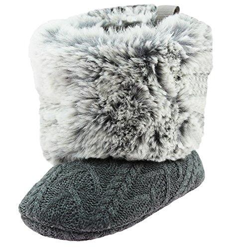 Stepping Stones Cable Knit Soft Sole Baby Boots with Faux Fur Tops | Baby Girls Crib Shoes | Grey (Marrone Footwear)