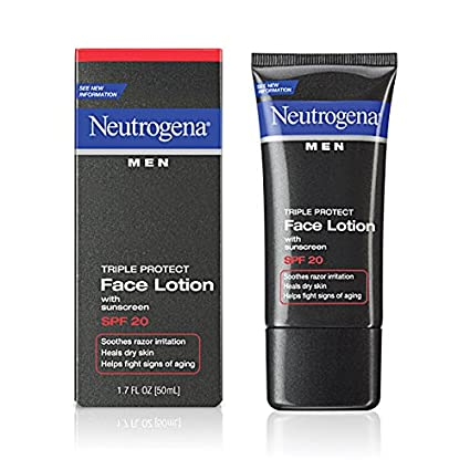 Neutrogena Men Triple Protect Face Lotion SPF 20-1.7 oz (Pack of 4)