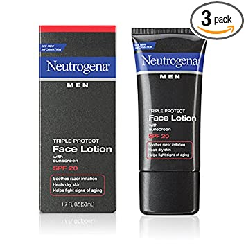 Neutrogena Triple Protect Men's Daily Face Lotion with Broad Spectrum SPF  20 Sunscreen, Moisturizer to Fight Aging Signs, Soothe Razor Irritation &