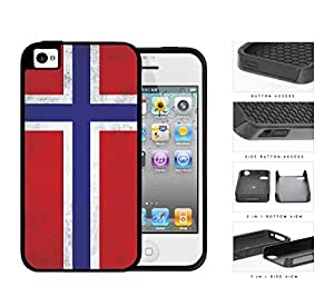 Norwegian Flag Dirty Grunge 2-Piece Dual Layer High Impact Rubber Silicone Cell Phone Case Apple iPhone 4 4s
