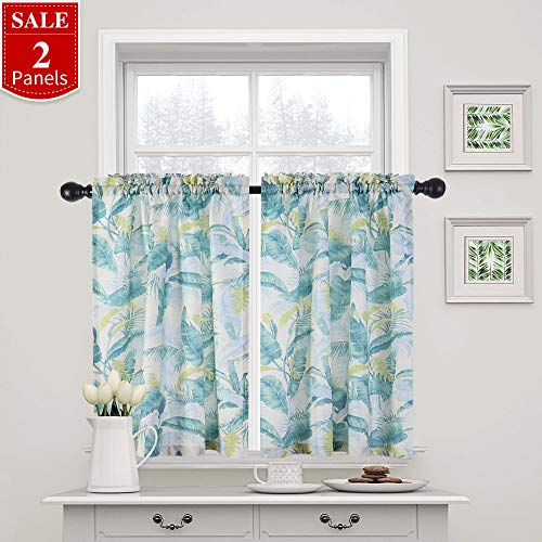 (FAIRY HOUSE Linen Textured Kitchen Tiers 24 inch Length Green Plant Printed Cafe Curtains Privacy Half Window Curtains for Bathroom (1 Pair, Green))