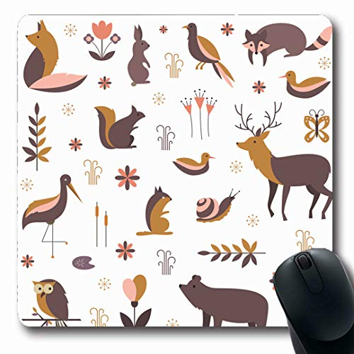 Ahawoso Mousepads Butterfly Geometric Forest Made Flat Squirrel Owl Cute Simple Snail Bear Design Flower Oblong Shape 7.9 x 9.5 Inches Non-Slip Gaming Mouse Pad Rubber Oblong Mat
